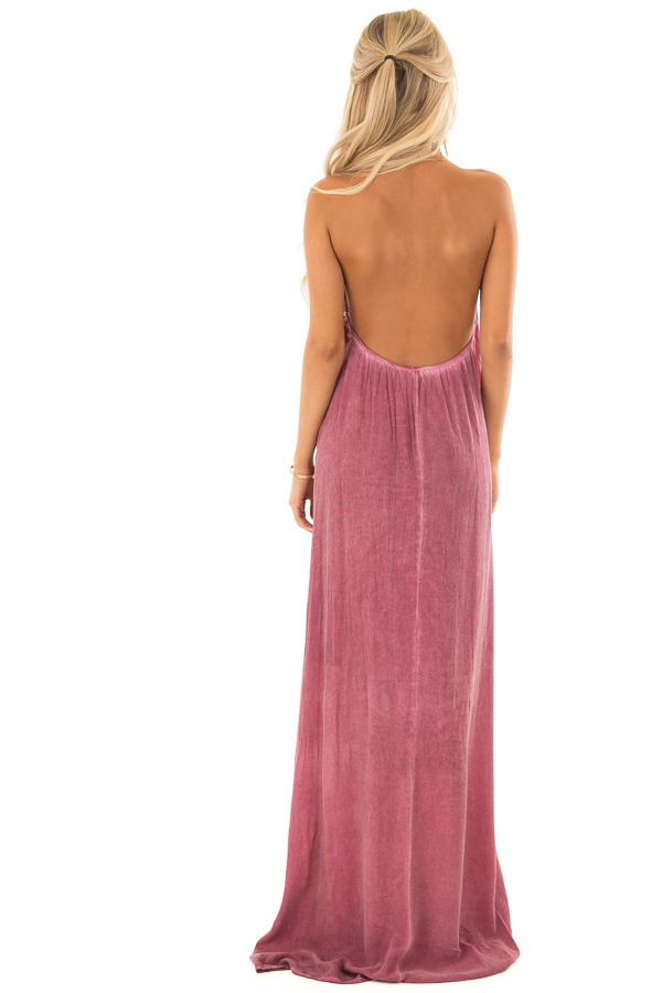 Dark Berry Mineral Washed Halter Maxi Dress back full body
