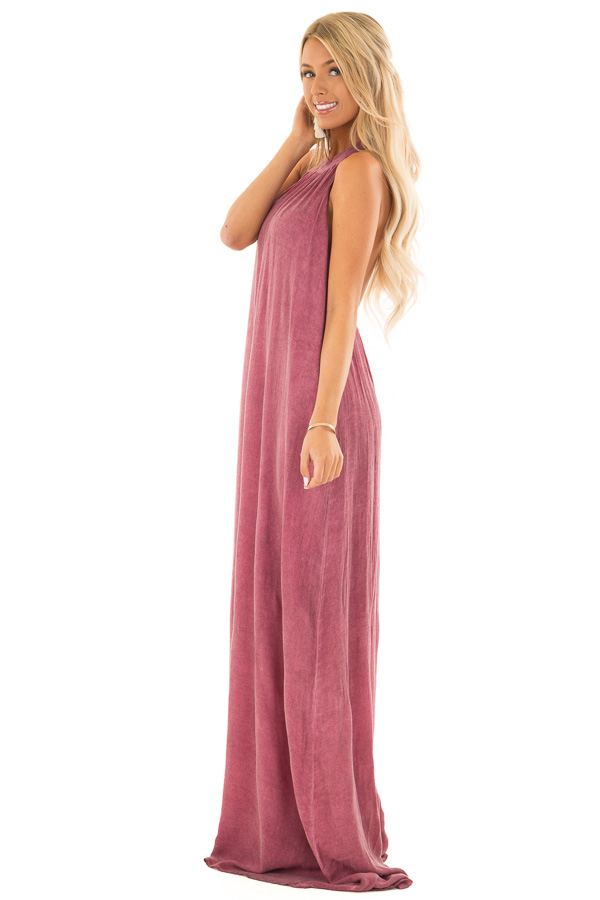 Dark Berry Mineral Washed Halter Maxi Dress side full body