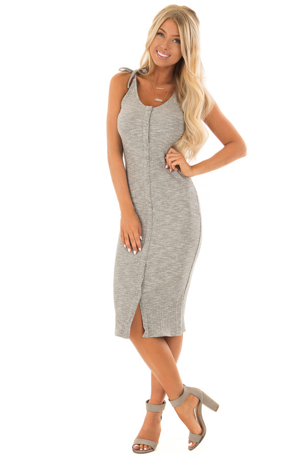 27171bc829a5 Light Grey Button Up Ribbed Bodycon Dress - Lime Lush Boutique