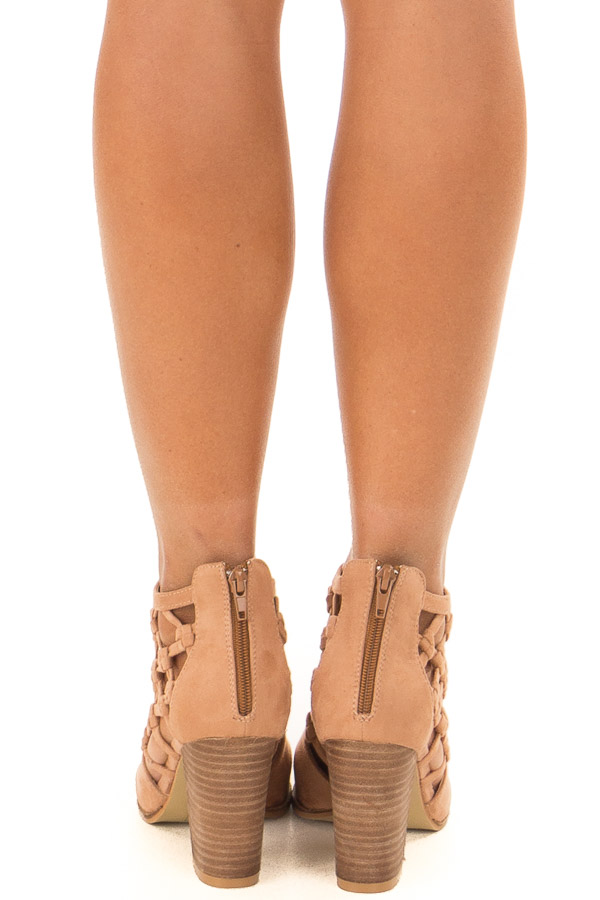 Camel Faux Suede Heeled Bootie with Side Knotted Detail back view