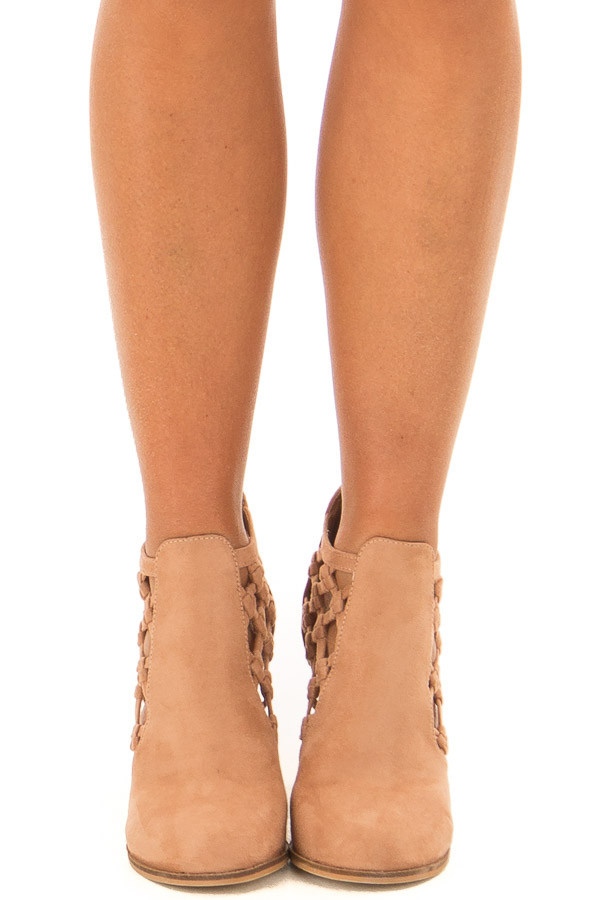 Camel Faux Suede Heeled Bootie with Side Knotted Detail front view