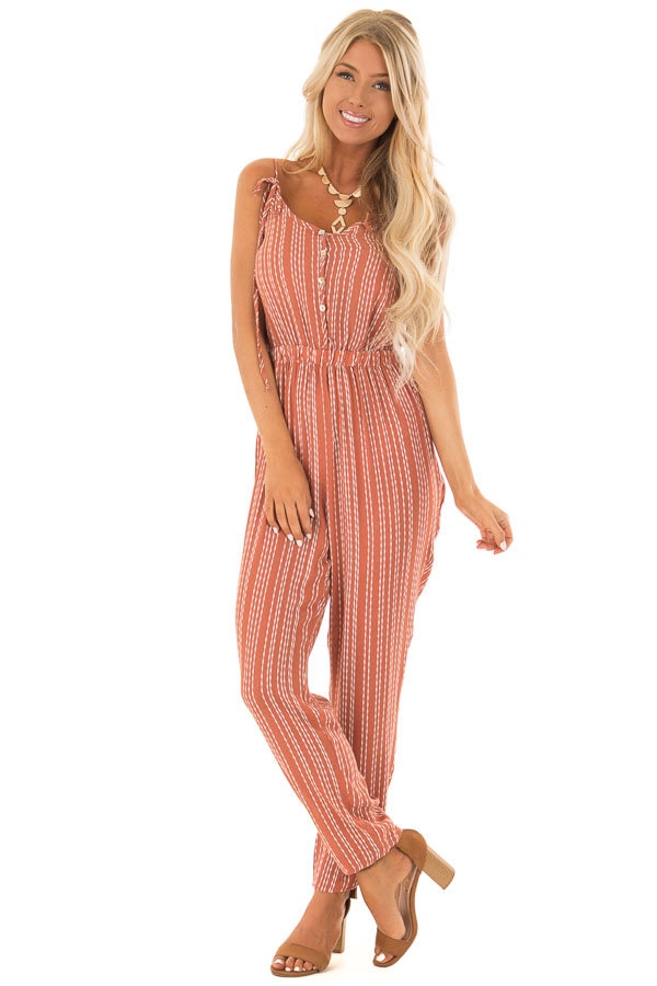 7d39f3141ab9 Rust Stripe Spaghetti Strap Jumpsuit with Strap Tie Detail front full body