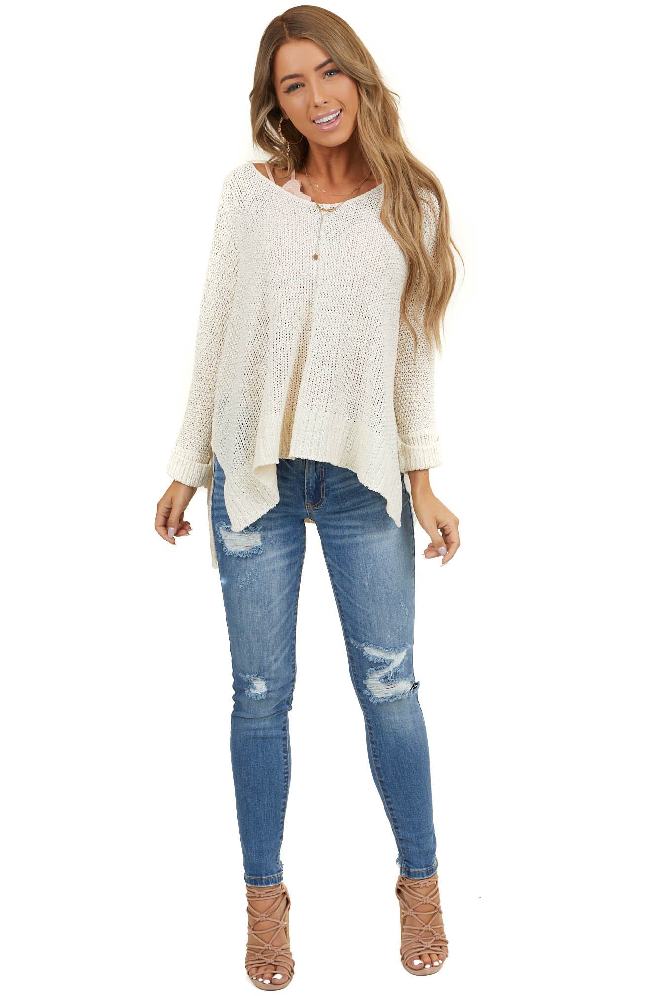Cream Cable Knit Sweater with Dolman Sleeves