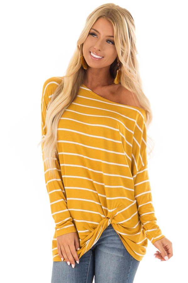 Mustard Off the Shoulder Striped Top with Front Twist Detail front close up