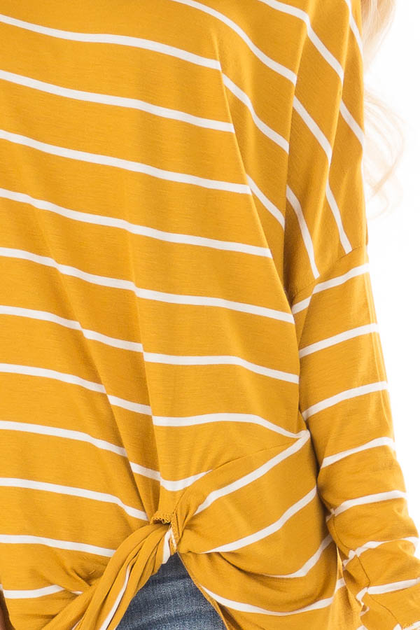 Mustard Off the Shoulder Striped Top with Front Twist Detail detail