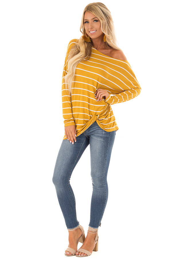 Mustard Off the Shoulder Striped Top with Front Twist Detail front full body