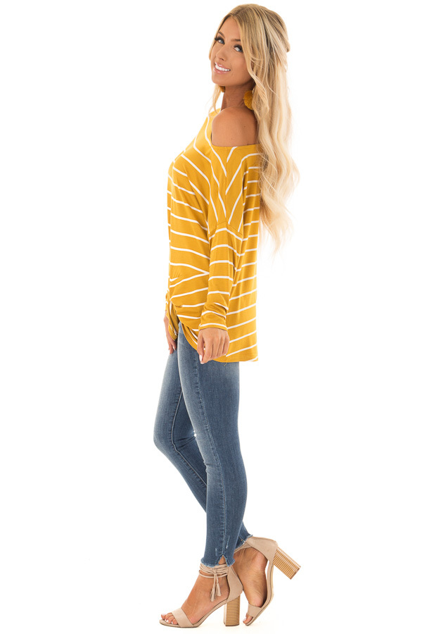 Mustard Off the Shoulder Striped Top with Front Twist Detail side full body
