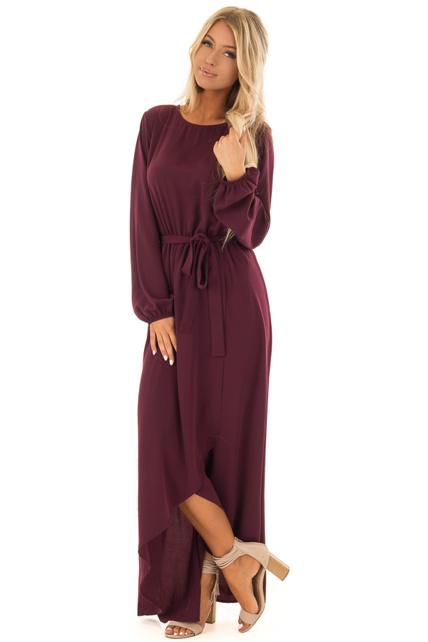 4a86dad60adc ... Wine Long Sleeve Maxi Wrap Dress with Waist Tie front full body ...