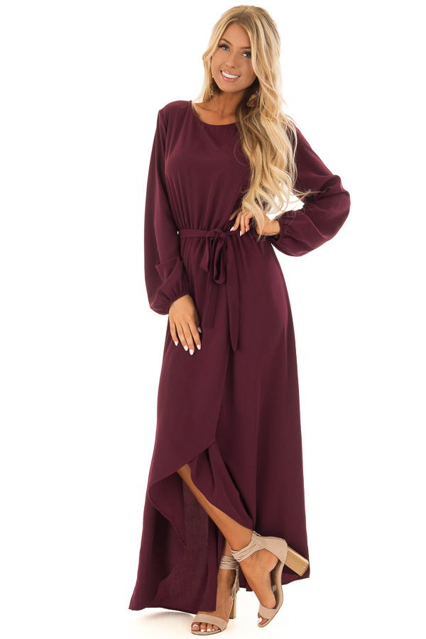 f37f9199733 Wine Long Sleeve Maxi Wrap Dress with Waist Tie - Lime Lush Boutique