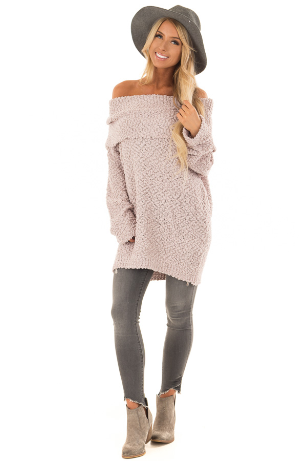 Light Mauve Off The Shoulder Comfy Sweater front full body