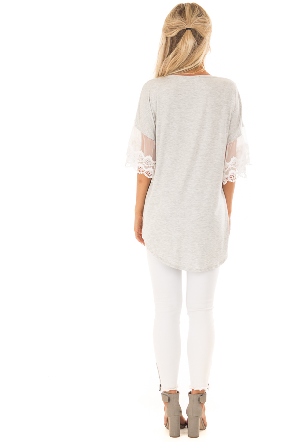 Heather Grey Button Up Top with Ivory Ruffle Lace Sleeves back full body