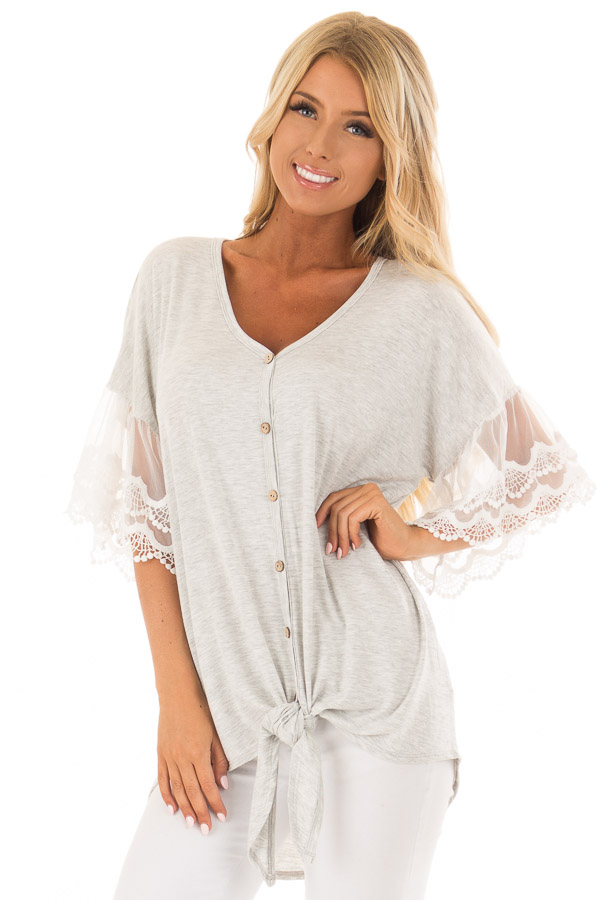 Heather Grey Button Up Top with Ivory Ruffle Lace Sleeves front close up