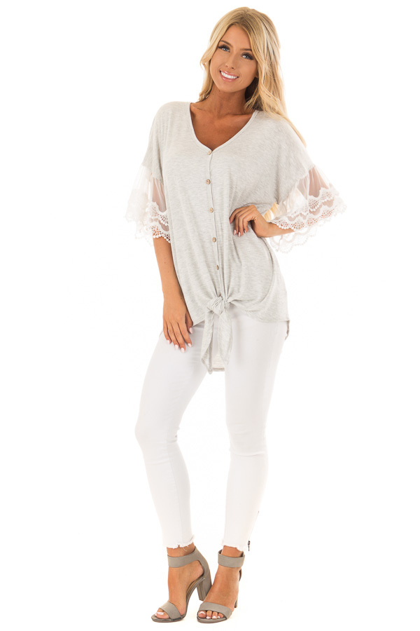Heather Grey Button Up Top with Ivory Ruffle Lace Sleeves front full body