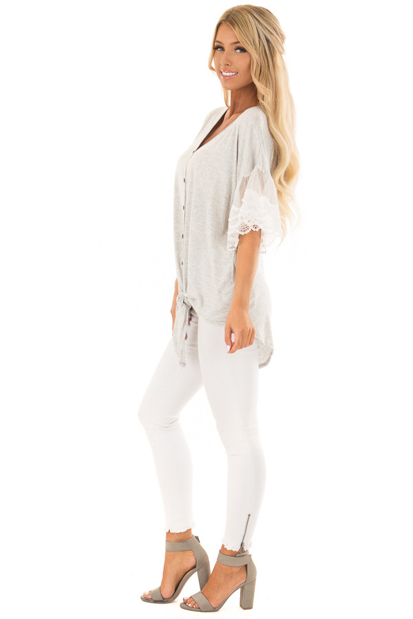 Heather Grey Button Up Top with Ivory Ruffle Lace Sleeves side full body