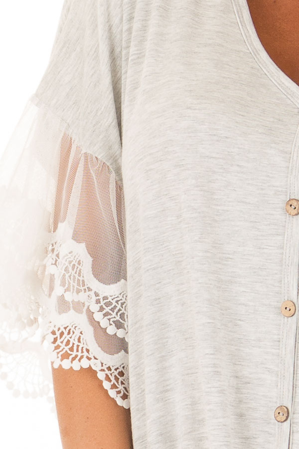 Heather Grey Button Up Top with Ivory Ruffle Lace Sleeves detail