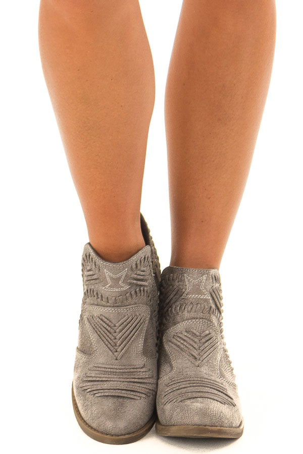 Fossil Grey Faux Leather Boho Heeled Bootie front view