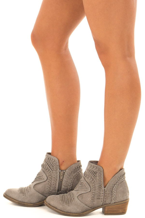 Fossil Grey Faux Leather Boho Heeled Bootie side view