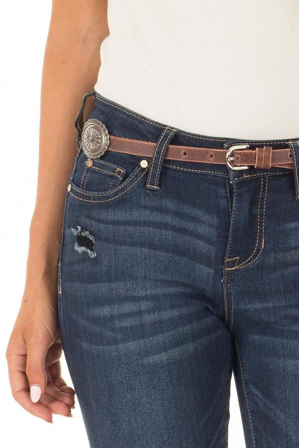 Brown Distressed Skinny Belt with Gunmetal Concho Detail detail