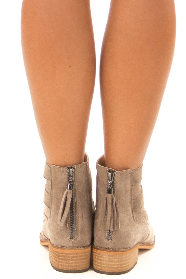 Taupe Suede Booties with Strappy Detail back view