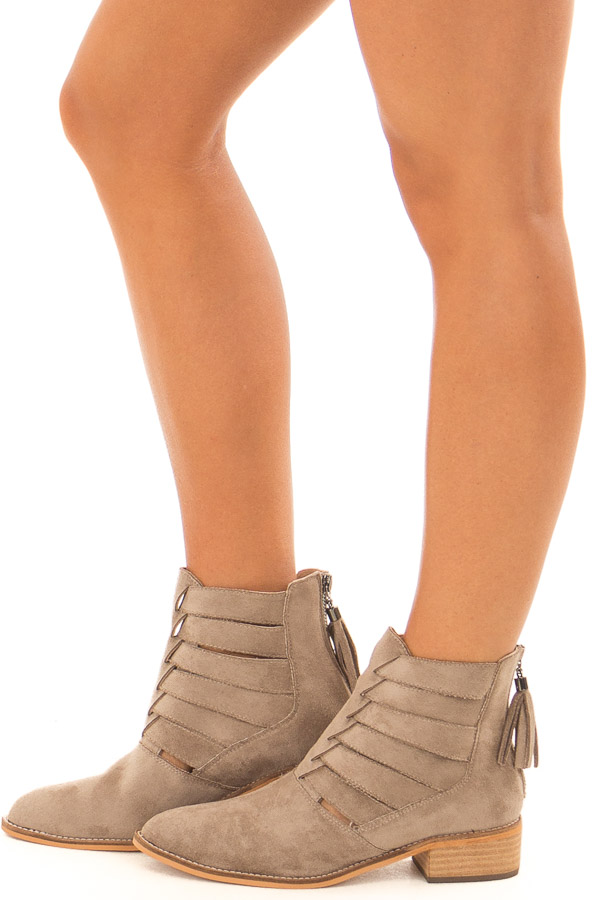 Taupe Suede Booties with Strappy Detail side view