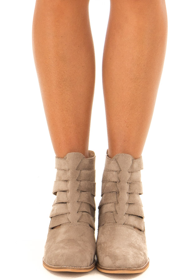 Taupe Suede Booties with Strappy Detail front view