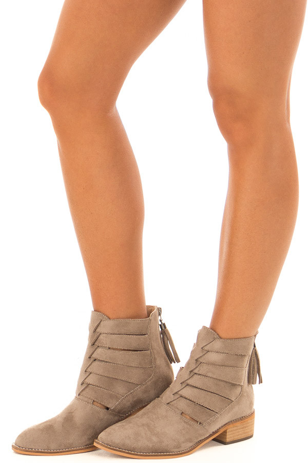 Taupe Suede Booties with Strappy Detail front side view
