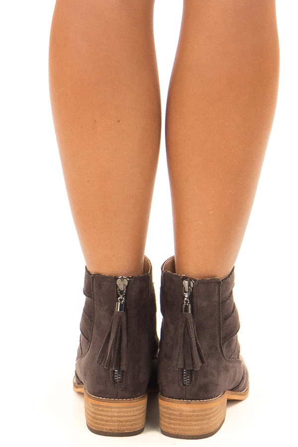 Charcoal Suede Booties with Strappy Detail back view