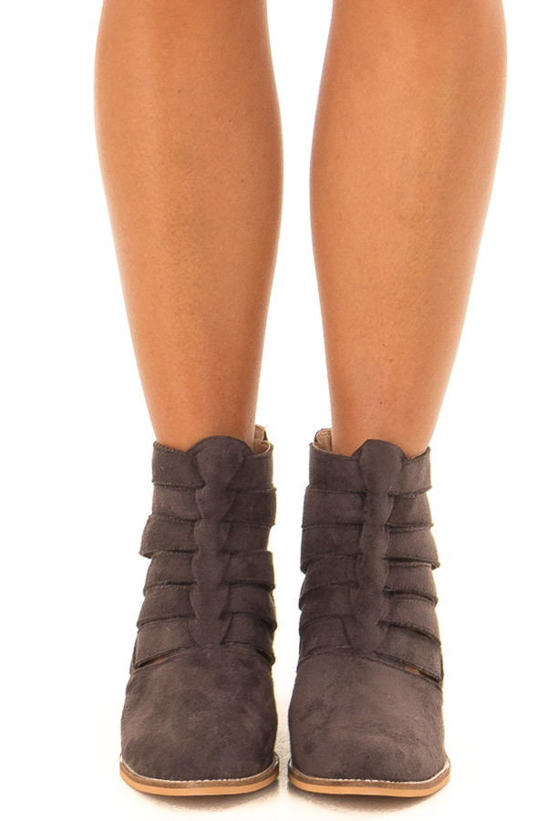 Charcoal Suede Booties with Strappy Detail front view