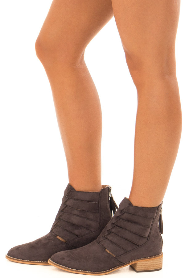 Charcoal Suede Booties with Strappy Detail side view