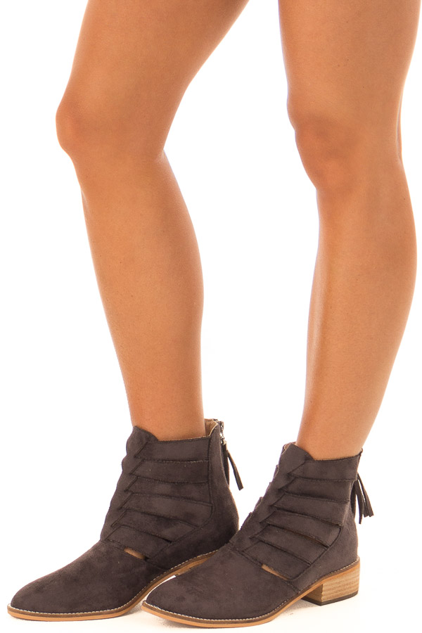 Charcoal Suede Booties with Strappy Detail front side view
