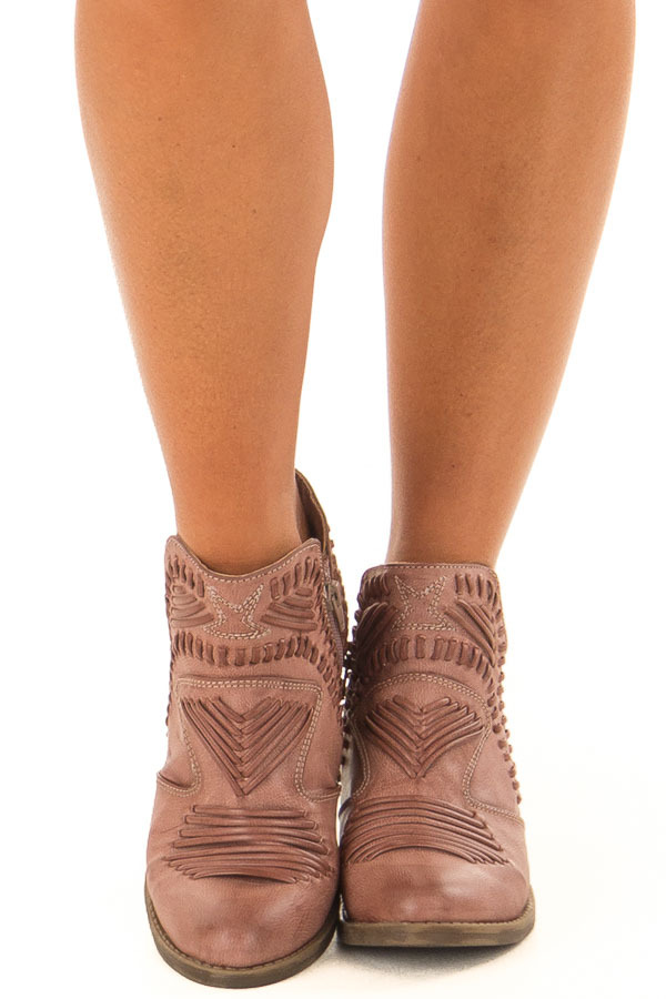 Dusty Rose Faux Leather Boho Heeled Bootie front view