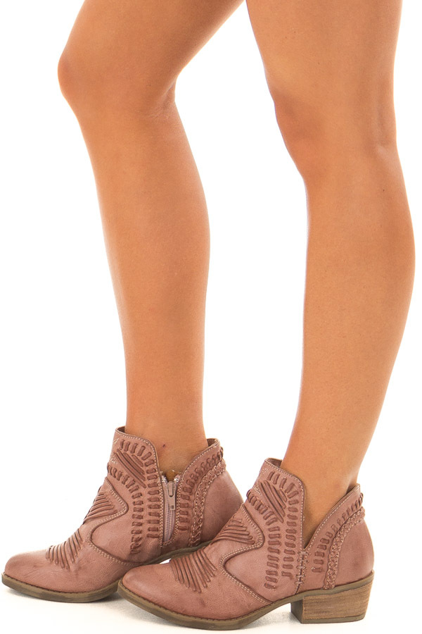 Dusty Rose Faux Leather Boho Heeled Bootie side view