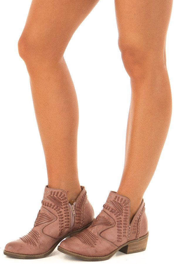 Dusty Rose Faux Leather Boho Heeled Bootie front side view