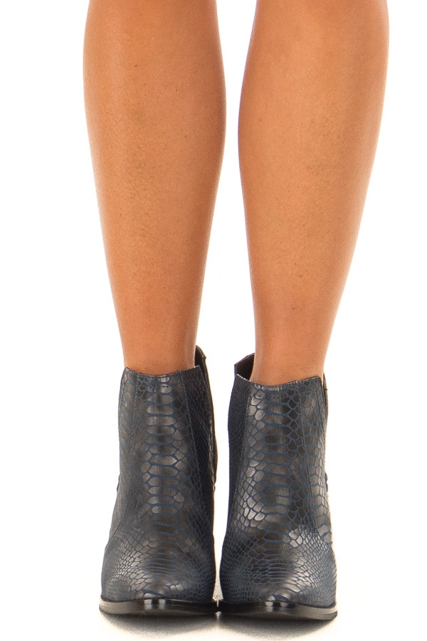 Navy Blue Snake Skin and Faux Suede Heeled Bootie front view