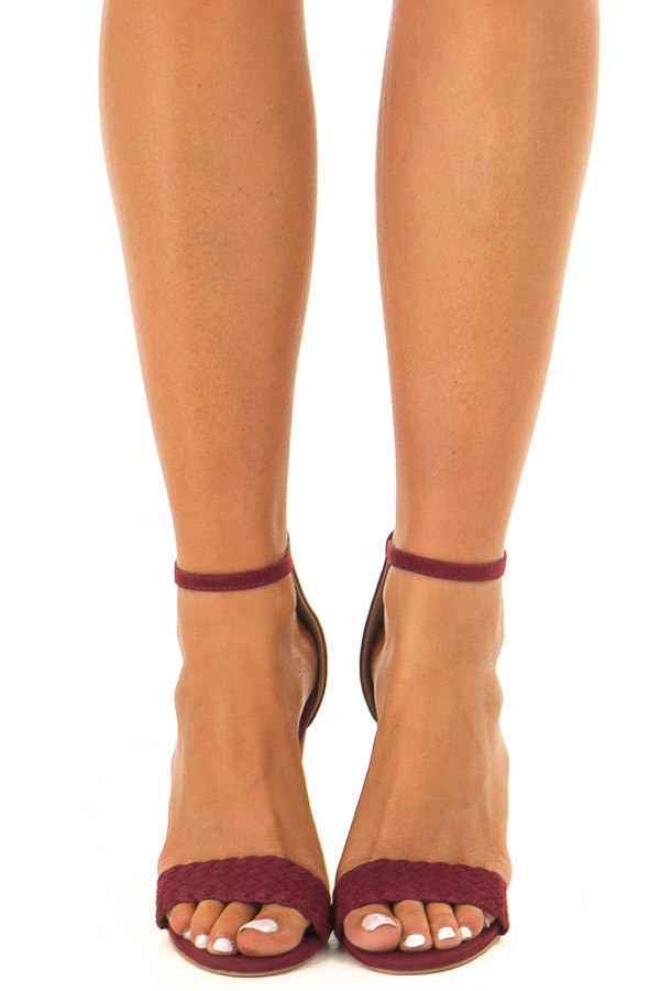 Merlot Faux Braided Velvet Sandal High Heels with Ankle Strap front view