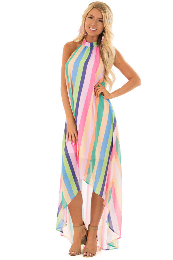Multi Color Striped Hi Low Halter Dress With Neck Tie