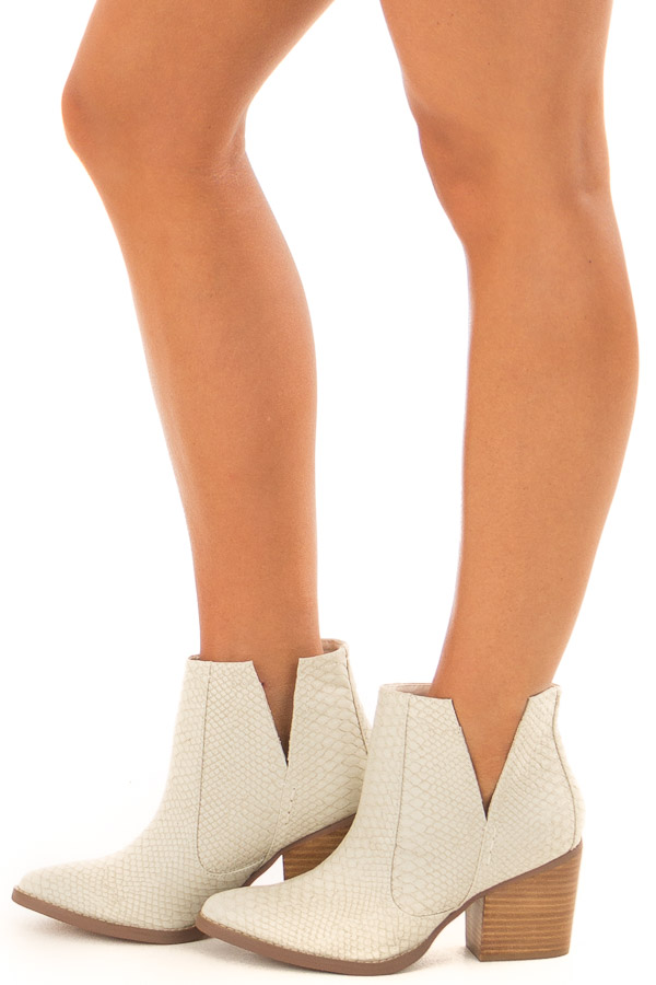 Ivory Snake Skin and Faux Suede Heeled Bootie side view