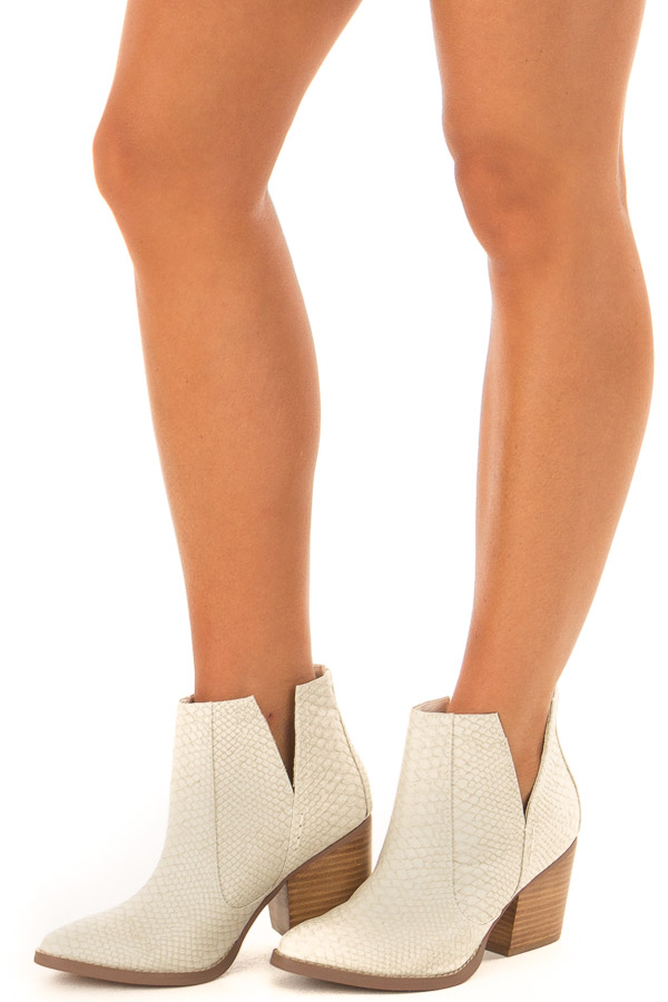 Ivory Snake Skin and Faux Suede Heeled Bootie front side view