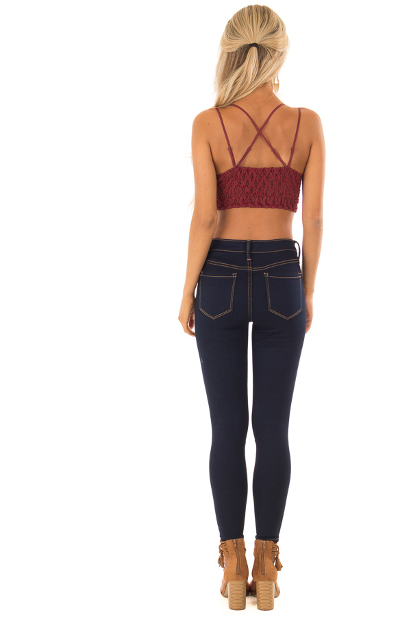 Burgundy Lace Bralette with Adjustable Criss Cross Straps back full body