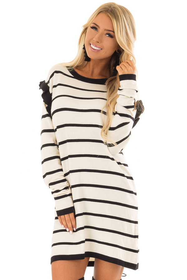 6e5325da7af Ivory and Black Striped Sweater Dress with Ruffle Detail - Lime Lush ...