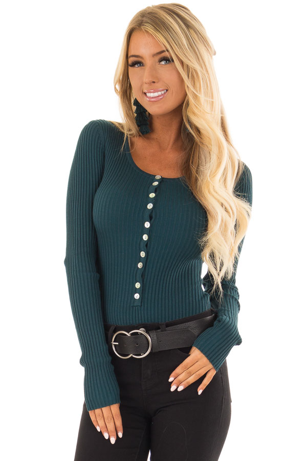 b12071b6f61 Teal Long Sleeve Ribbed Bodysuit with Button Detail - Lime Lush Boutique