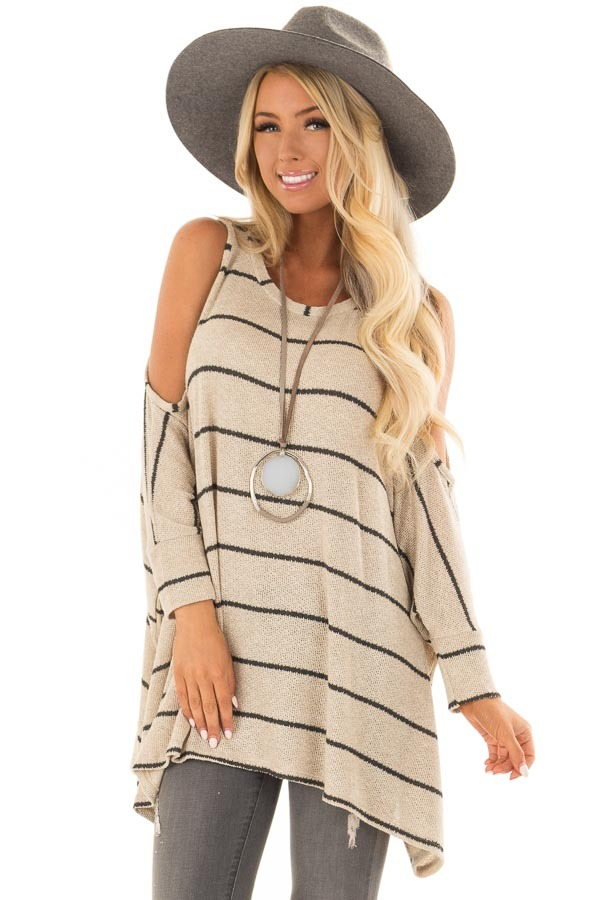 e60589cdd6757 Taupe Striped Cold Shoulder Knit Top with 3 4 Length Sleeves front closeup