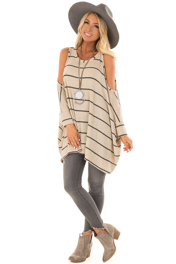 c342e74890d55 ... closeup · Taupe Striped Cold Shoulder Knit Top with 3 4 Length Sleeves  front full body ...