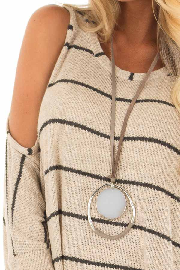 e661175e3bd60 Taupe Striped Cold Shoulder Knit Top with 3 4 Length Sleeves front detail