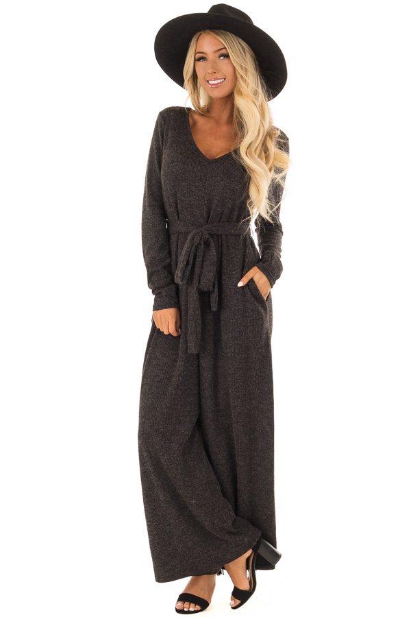 de5806937d94 Charcoal Ribbed Knit Long Sleeve Jumpsuit with Waist Tie - Lime Lush ...
