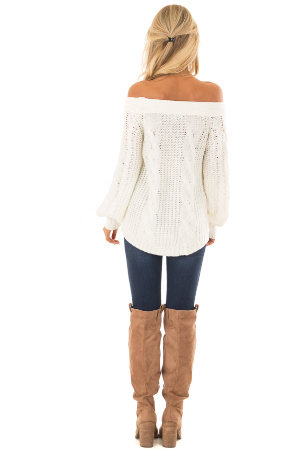 Cream Long Sleeve Off the Shoulder Knit Sweater back full body