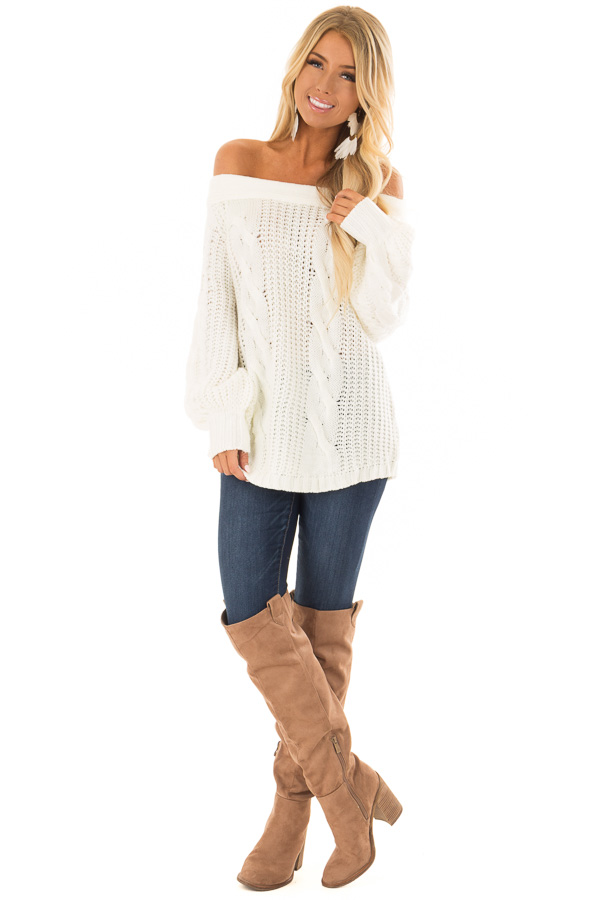 Cream Long Sleeve Off the Shoulder Knit Sweater front full body