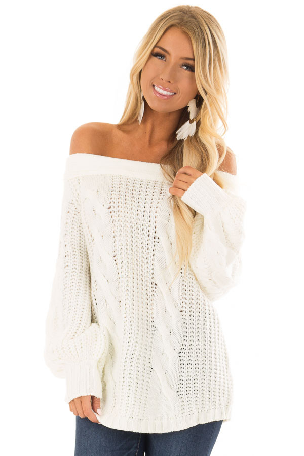 Cream Long Sleeve Off the Shoulder Knit Sweater front closeup