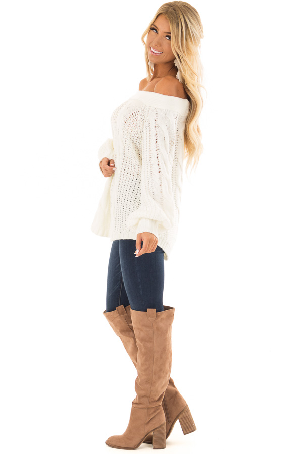 Cream Long Sleeve Off the Shoulder Knit Sweater side full body