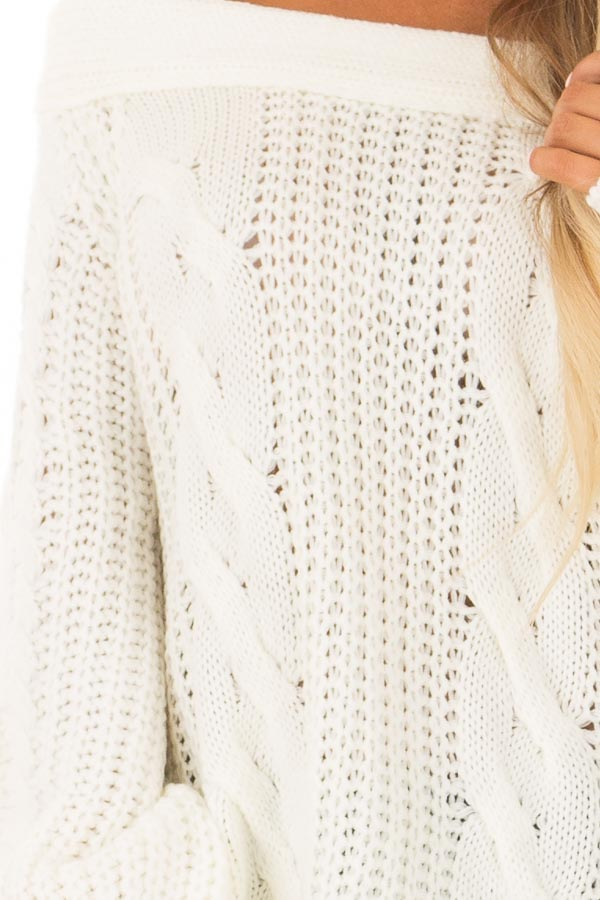 Cream Long Sleeve Off the Shoulder Knit Sweater front detail
